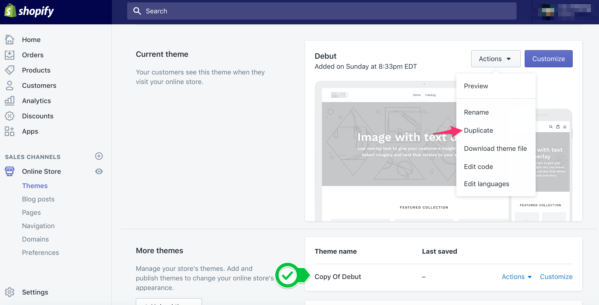 Duplicate Shopify theme screenshot