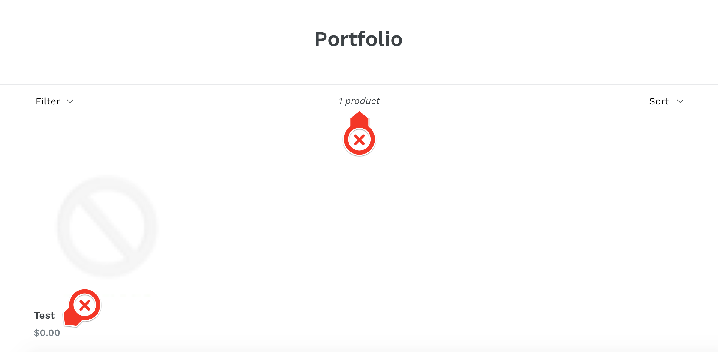 Initial portfolio collection page screenshot